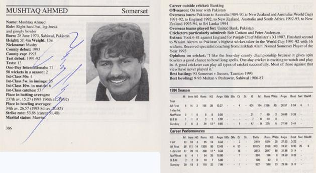 Mushtaq-Ahmed-autograph-signed-somerset-cricket-memorabilia-sussex-ccc-pakistan-leg-spinner-whos-who-signature