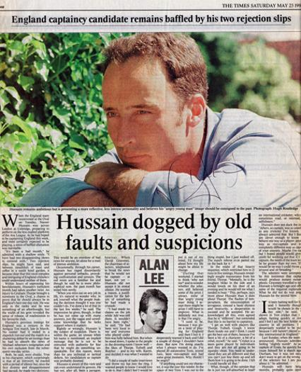 NASSER-HUSSAIN-autograph-signed-Essex-cricket-memorabilia-England-test-match-captain-batsman-1998-averages-times-newspaper-article
