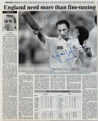 NASSER-HUSSAIN-autograph-signed-Essex-cricket-memorabilia-England-test-match-captain-batsman-india-2002-averages-sunday-times-newspaper-article