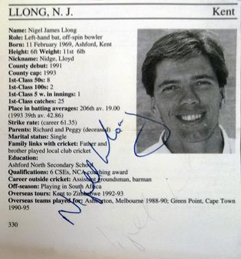 NIGEL LLONG memorabilia Kent cricket memorabilia signed Cricketers Whos Who player biopic autograph