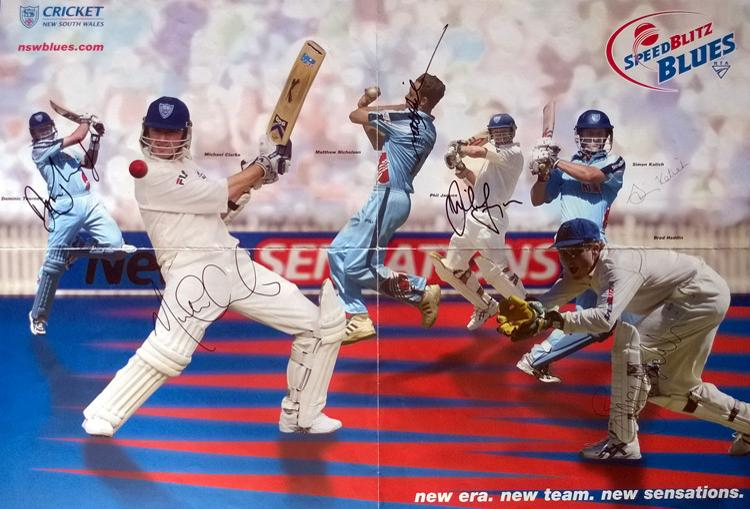 New South Wales NSW Blues multi-signed 20/20 cricket poster Clarke Haddin Katich