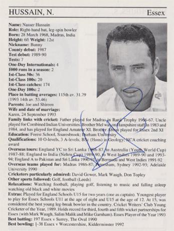 Nasser-Hussain-autograph-signed-Essex-cricket-memorabilia-signature-england-captain-batsman-1995-county-cricketers-whos-who-ashes-sky-cricket
