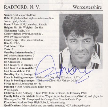 Neal-Radford-autograph-signed-worcestershire-cricket-memorabilia-worcs-ccc-england-bowler-zambia-whos-who-signature