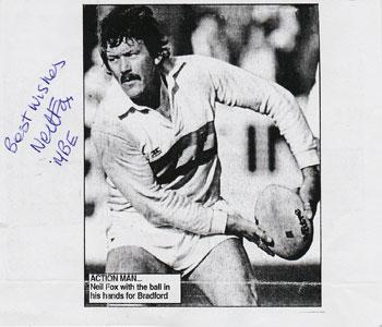 Neil Fox memorabilia signed Rugby League newspaper article Bradford RLFC rugby memorabilia
