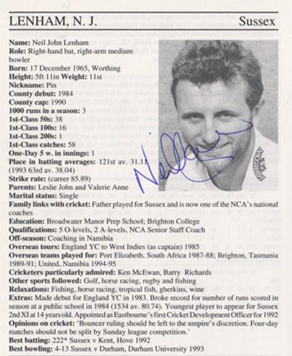 Neil-Lenham-autograph-signed-sussex-cricket-memorabilia-batsman-whos-who-signature