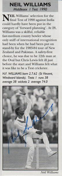 Neil-Williams-autograph-signed-Middlesex-cricket-memorabilia-Middx-CCC-county-fast-bowler-england-test-match-cap-1990