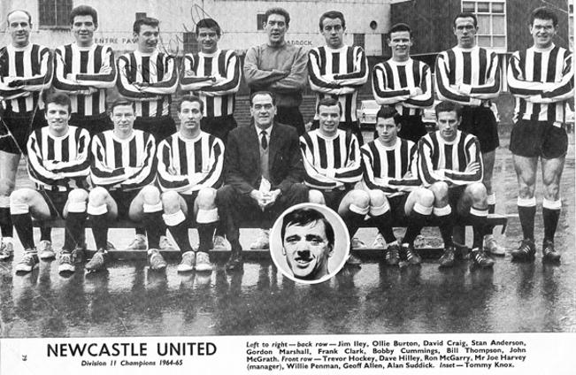 Newcastle-United-football-memorabilia-1964-65-Division-Two-champions-signed-team-photo-pic-David-Craig-autograph-Bobby-Moncur-St-James-Park-Toon-Army