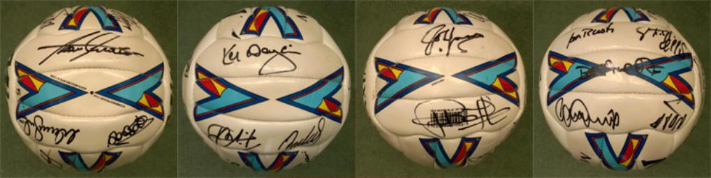 NUFC multi-signed football  Inc: Kenny Dalglish (Manager), Alan Shearer, John Barnes, Gary Speed, Ian Rush, Warren Barton, Shay Given, David Batty, Philippe Albert, Temuri Ketsbaia, Nikos Dabizas + 10 unknown autographs (c 1997-98 season).