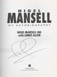 Nigel-Mansell-autograph-F1-motorsport-memorabilia-signed-autobiography-the-peoples-champion-first-edition-formula-one-world-champion-ferrari-williams-grand-prix