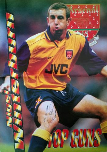 Nigel-Winterburn-signed-Arsenal-FC-football-poster-memorabilia-top-gunners-autograph-AFC