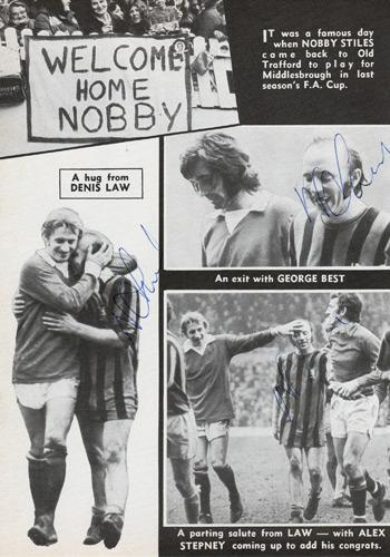 Nobby Stiles signed Man Utd fc football memorabilia middlesborough old trafford law best stepney