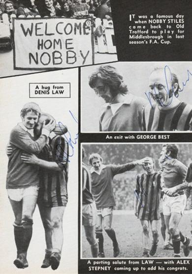 Nobby-Stiles-signed-Man-Utd-fc-football-memorabilia-middlesborough-old-trafford-law-best-stepney-Manchester-United