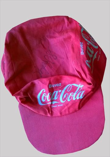 Multi-signed ONCE cycling memorabilia / Coca-Cola cycling cap Autographed Laurent Jalabert Stephen Hodge Tour de France memorabilia