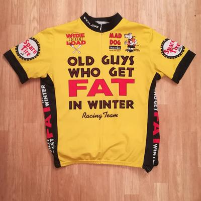 Old-Guys-Who-Get-Fat-in-the-winter-cycling-team-v1-jersey-voler-usa-memorabilia-yellow-spare-tire-ale-wide-load-diner-mad-dog-media-Patrick-OGrady-cartoon-1989-velonews