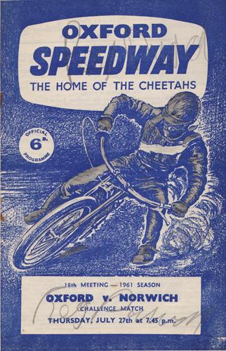Oxford-Cheetahs-Speedway-memorabilia-Reg-Duval-autograph-signed-1961-programme-Norwich-Stars-Cowley-Liverpool-South-Africa-World-Riders-Association-bike-motor-sport