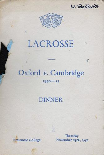 Oxford-v-Cambridge-University-Lacrosse-memorabilia-Dinner-1950-1951-Brasenose-College-signed-player-autographs-oxbridge-blue-ribbons