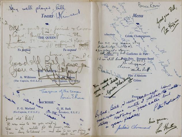 Oxford-v-Cambridge-University-Lacrosse-memorabilia-Dinner-Menu-1952-1953-Balliol-College-signed-player-autographs-oxbridge-blue-ribbons-varsity-W-Thorburn