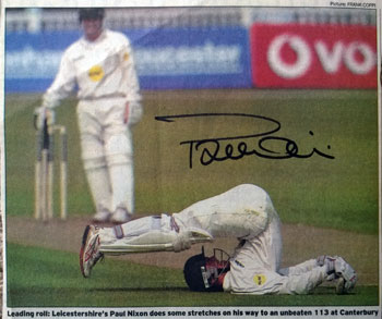 PAUL-NIXON-autograph-signed-Leics-cricket-memorabilia-newspaper-pic-Foxes-kent-england-wicket keeper-nicko