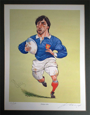 PHILIPPE SELLA autograph signed french rugby memorabilia France signed John Ireland artist rugby print