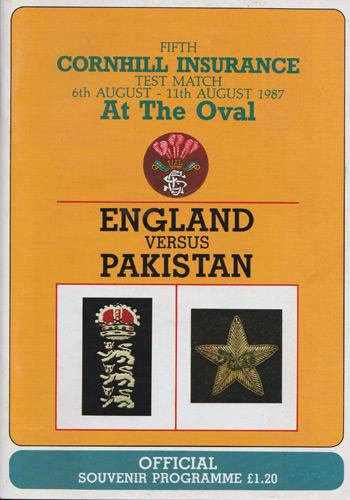 Pakistan-cricket-memorabilia-1987-series-England-The-Oval-Programme-August-Fifth-Test-match-Imran-Khan-Javed-Miandad-Double-Century-historic-victory