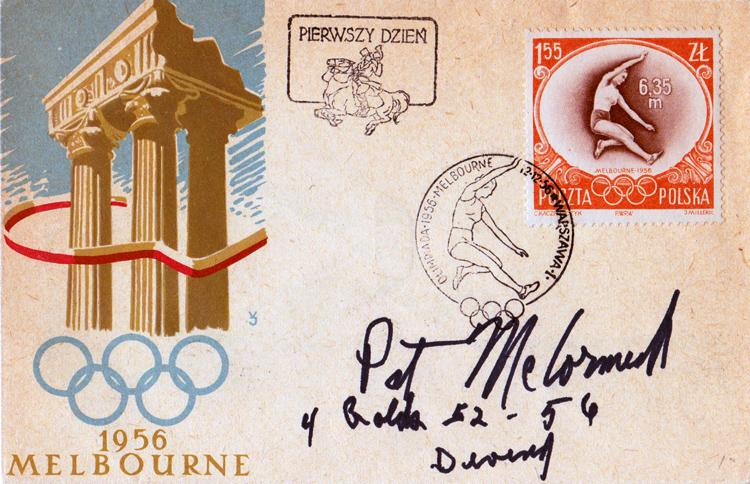 Pat McCormick memorabilia signed 1956 Melbourne Olympic Games memorabilia First day cover diving memorabilia autograph FDC