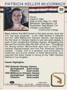 Pat-McCormick-signed-US-Olympic-diving-card-gold-medal-champion-autograph-bio-patricia