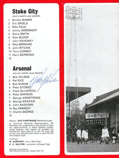 Pat-Rice-autograph-signed-Arsenal-FC-football-memorabilia-1971-FA-Cup-Semi-final-replay-programme-stoke-city-signature-gunners