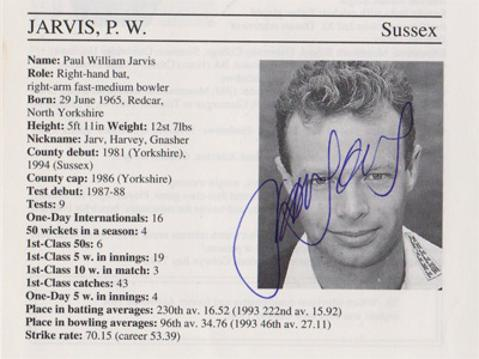 Paul-Jarvis-autograph-signed-sussex-cricket-memorabilia-england-fast-bowler-whos-who-signature
