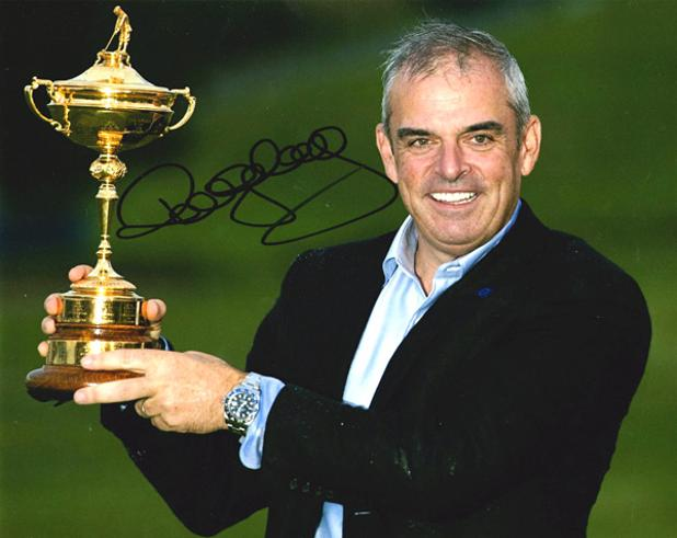 Paul mcginley autograph signed ryder cup memorabilia winning captain samuel ryder trophy