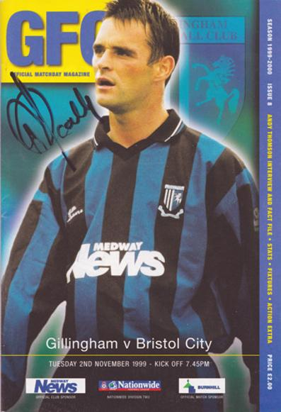 Paul-Scally-autograph-signed-Gillingham-football-memorabilia-1999-programme-the-gills-owner-priestfield-stadium-soccer-kent