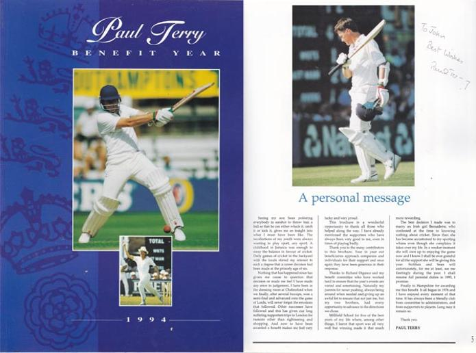 Paul-Terry-autograph-signed-1994-benefit-year-brochure-hampshire-cricket-memorabilia-hants-ccc-testimonial