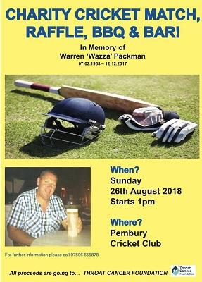 Pembury Cricket club charity match day warren packman memorial throat cancer foundation wazza