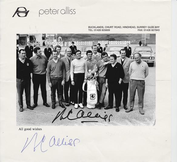 Peter-Alliss-autograph-signed-1969-Ryder-Cup-golf-memorabilia-personal-letter-head-gb-ireland-team-photo-Royal-Birkdale-tie-signature