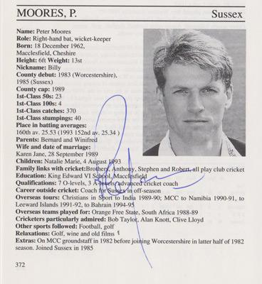 Peter-Moores-autograph-signed-Sussex-cricket-memorabilia-signature-england-coach-batsman-1995-county-cricketers-whos-who-ashes