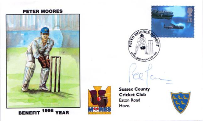 Peter-Moores-autograph-signed-Sussex-cricket-memorabilia-signed-1998-benefit-season-first-day-cover-fdc-hove-england-coach-signature-stamps