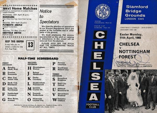 Peter-Osgood-autograph-signed-Chelsea-football-memorabilia-1966-programme-Nottm-Forest-Ron-Harris