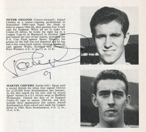 Peter-Osgood-autograph-signed-chelsea-football-memorabilia-cfc-signature-1968-young-england-programme-biopic-arsenal-stadium-stamford-bridge