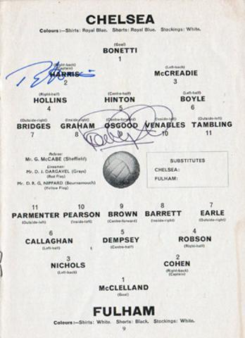 Peter-Osgood-autograph-signed-chelsea-football-memorabilia-ron-harris-signature-chopper-1966-programme-fulham-cfc-team-sheet-stamford-bridge