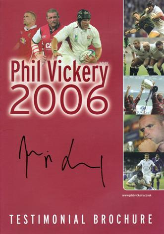 PHIL VICKERY memorabilia (Gloucester, Wasps, England, Lions) hand-signed 2006 Benefit brochure