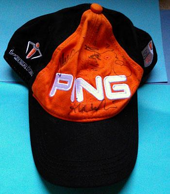 PING golf cap signed by Lee Westwood, Miguel Angel Jimenez, Nick Dougherty golfing memorabilia