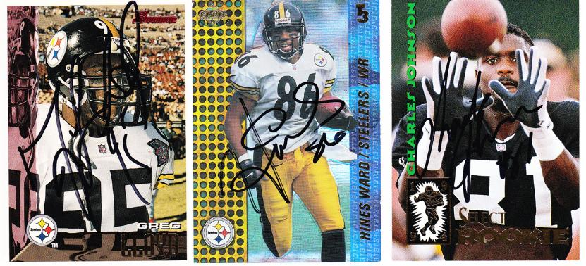 Pittsburgh-Steelers-signed-NFL-player-cards-Greg-Lloyd-Hines-Ward-autograph-memorabilia