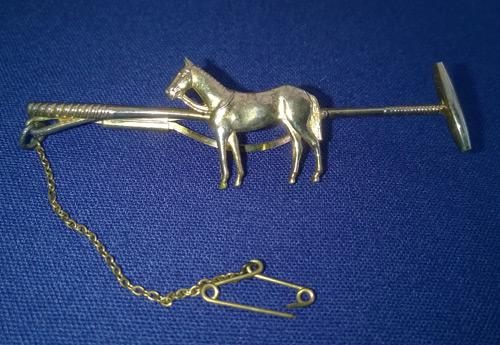 Polo-jewellery-tie-pin-pony-stick-mallet-horse-equestrian-memorabilia-gold-metal-bling-fashion-man-cave-accoutrements-chain-stratton