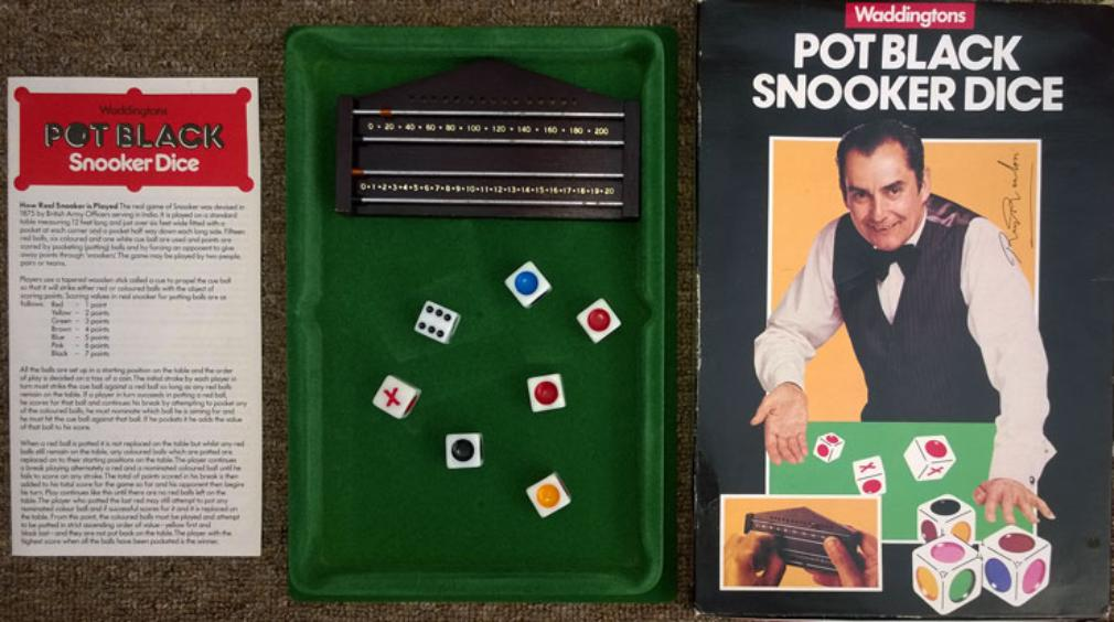 Pot-Black-Snooker-Dice-Board-Game-Ray-Reardon-autograph memorabilia