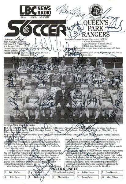 QPR-FC-football-memorabilia-London-6-a-side-indoor-soccer-championships-programme-signed-Wembley-Arena-LBC-team-Queens-Park-Rangers-autographs