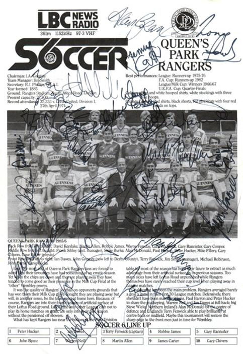 8d1cc6ed8 QPR FC Signed 1986 LBC Radio 6 a side soccer championships programme page  with 20+ player autographs.