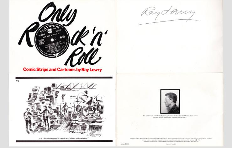 RAY-LOWRY-signed-Only-Rock-and-Roll-cartoon-book-1980-NME-comic-strip-funny autograph