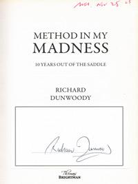 RICHARD-DUNWOODY-autograph-signed-autobiography-Method-in-my-Madness-horse-racing-memorabilia
