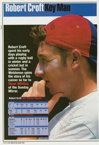 ROBERT-CROFT-autograph-signed-Glamorgan-cricket-memorabilia-England-test-match-spinner-wales-ECB-Official-Tour-Guide-1997-bio-career-stats