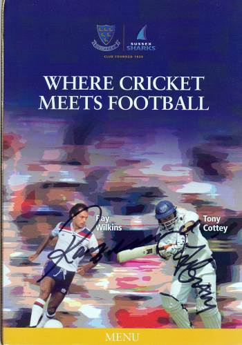 Ray Wilkins Chelsea Tony Cottey signed Where Football Meets Cricket Sussex CCC Menu