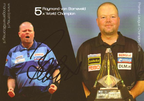 Raymond-van-Barnevald-autograph-Barney-signed-PDC-darts-memorabilia-official-postcard-five-times-bdo-world-champion-career-record-biography-trophy-netherlands